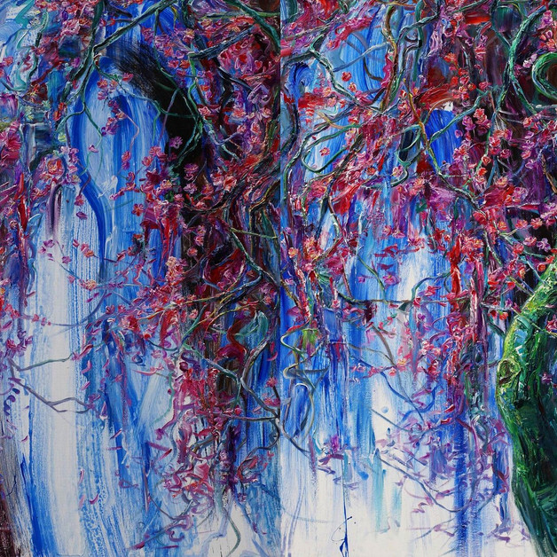 1, Heuk Mae (Dark Red Plum) 2016, Oil on linen 116.8x145.4cm (2 canvases together) 7000€ each, 12000€ together