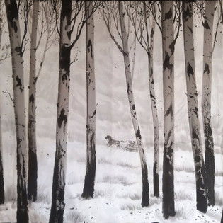 Trees-2008 Choe Chang Ho, encre de chine, pigments sur Hanji  3000€