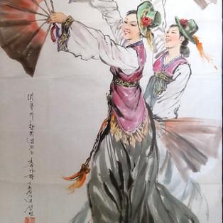 danseuses aux éventails Kim Song Min-2014 encre de chine, pigments sur Hanji  1 200€