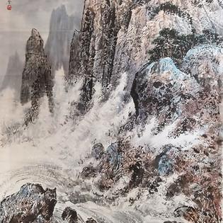 Ri Chang- 2011  Echo des vagues sur la falaise - encre de chine, pigments sur Hanji  1 200€