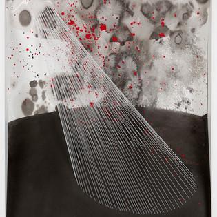 Refuge intérieur I, Encre de Chine, pigments sur papier, fils élastiques,  64 x 50 x 10 cm, 2011 - VENDU