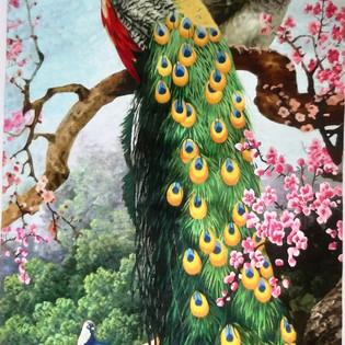PAONS - Jinmi RI Broderies de soie - 59 x 118  cm -  3 800€