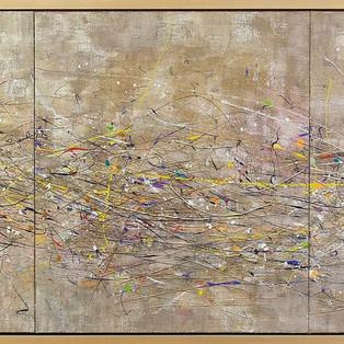 A lifeline A-Ryung LEE  240x80cm,  Acrylic on canvas,  cotton yarn,  electric wire,  2014   13,500€