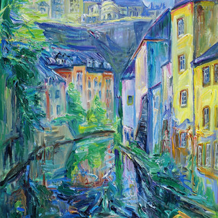 Alzette at the Grund-Luxembourg, Oil on Linen, 65 x 50cm 2000€
