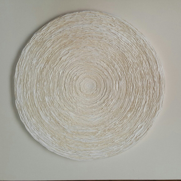 OKNAM LEE WAVE WHITE ON WHITE 2019 OKNAM LEE - WAVE WHITE ON WHITE  40 X40 CM  Hanji paper   1300€