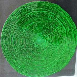 OKNAM LEE WAVE GREEN 2019 OKNAM LEE  WAVE GREEN  40 X40 CM  Hanji paper 2019   1300€