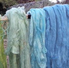 Rainbow of plant-dyed fleece by Jenny