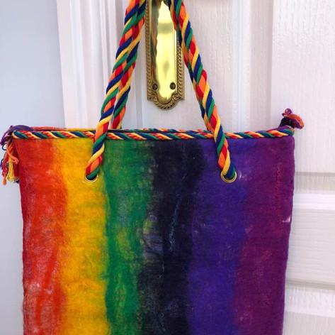 Carole's rainbow bag.