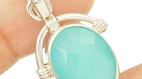 Aqua Chalcedony mounted in .925 Sterling Silver.