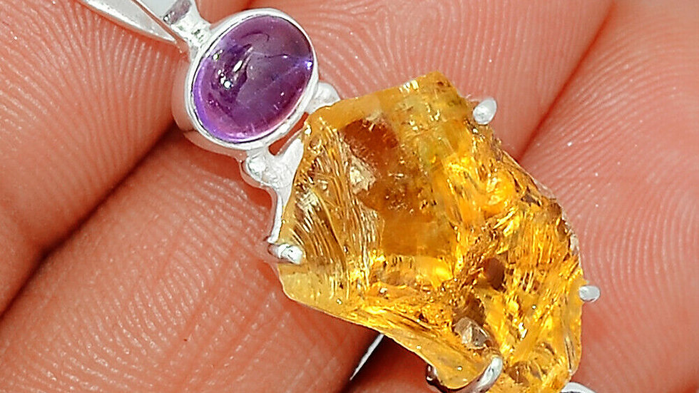 Natural Raw Citrine Crystal with double amethyst accents