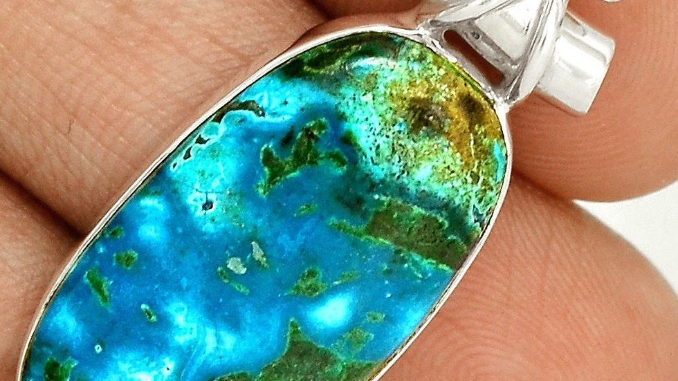 Chrysocola & Malachite with Topaz accent, mounted in .925 Sterling Silver.