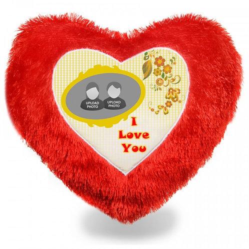 Red Heart Fur Cushion