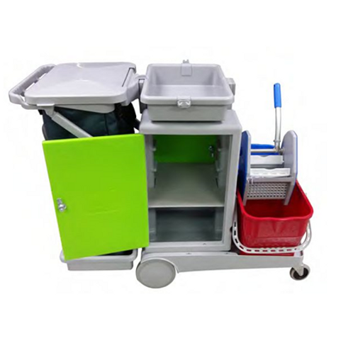 Deluxe Cleaners Trolley with Lockable Chemical Cabinet