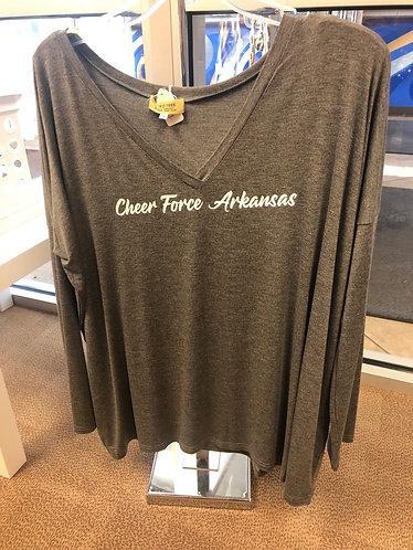 """Charcoal v-neck Piko """"Cheer Force Arkansas"""""""