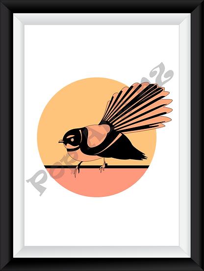 Limited edition Fantail bird NZ - Ember
