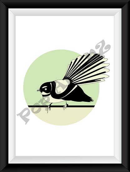 Limited edition Fantail bird NZ - Minty