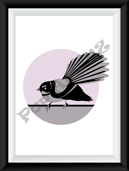 Limited edition Fantail bird NZ - Lilac