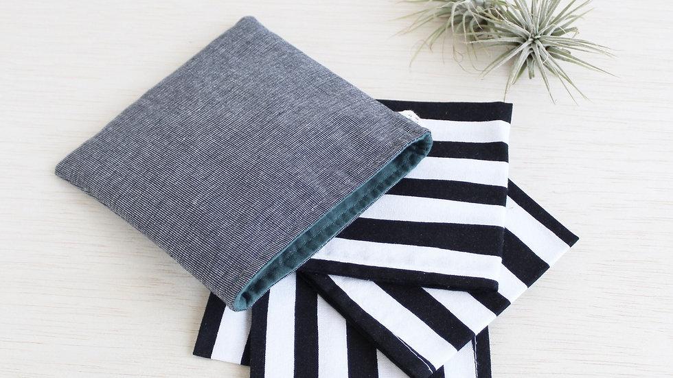handkerchief set, black and white