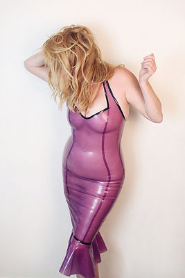 Shelby in pink latex dress