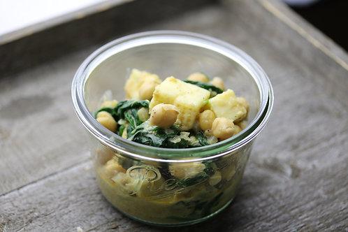 Kichererbsen-Paneer Curry mit Spinat