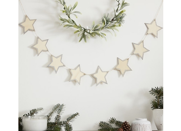 Wooden Star Garland With Silver Glitter Edges