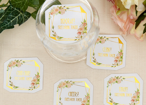 drinks tokens for wedding guests, wedding day drinks tokens, wedding guest drinks tokens