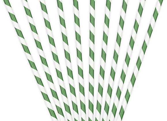 Green And White Striped Paper Straws (x 10)