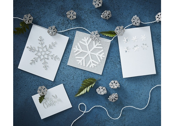 Glitter Silver Snowflake Peg And String Card Holder