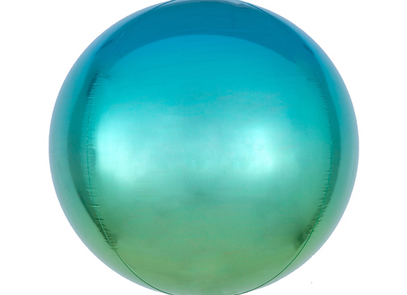 """Ombre Orbz 16"""" Balloon - Blue And Green"""