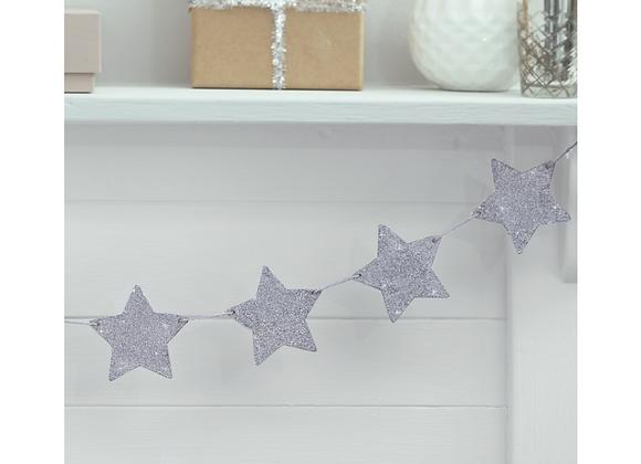 Silver Wooden Star Garland