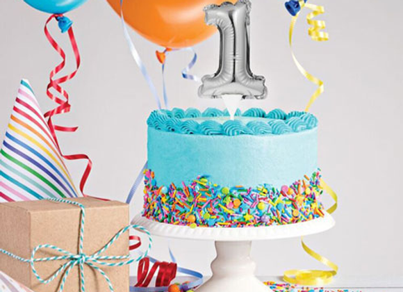 Self Inflating First Birthday Cake Topper