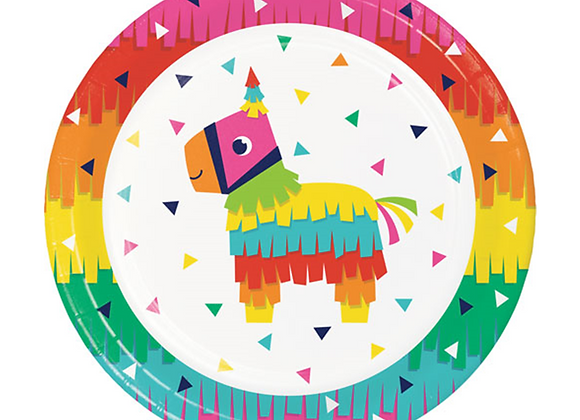 FIESTA PARTY, LLAMA PARTY THEME, RAINBOW PARTY THEME PLATES, CHILDREN'S PARTY PLATES, CHILDREN'S RAINBOW PARTY THEME