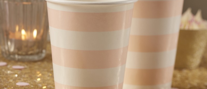 Pastel Pink And White Paper Cups