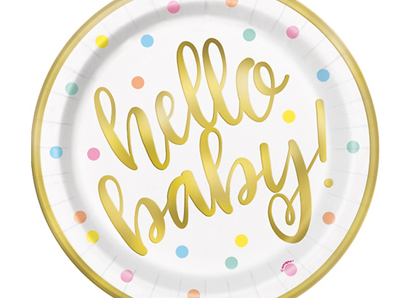 hello baby plates, baby shower plates, baby shower tableware