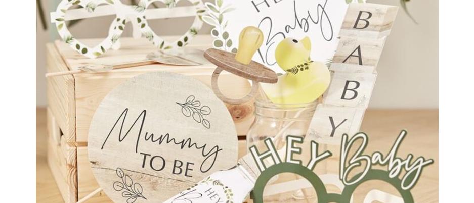 baby shower photo props, eco-friendly baby shower range, hey baby baby shower, botanical baby Ginger Ray
