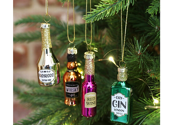 Christmas tree decorations, Sass & Belle decorations, drinks related decorations, Glass baubles