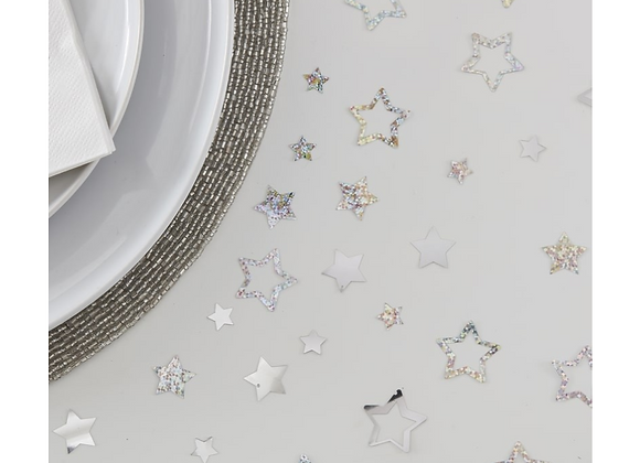 Silver Star Shapes Christmas Table Confetti