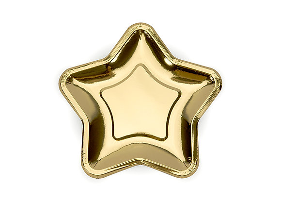 Large Gold Star Paper Plates x 6 - 23 cm