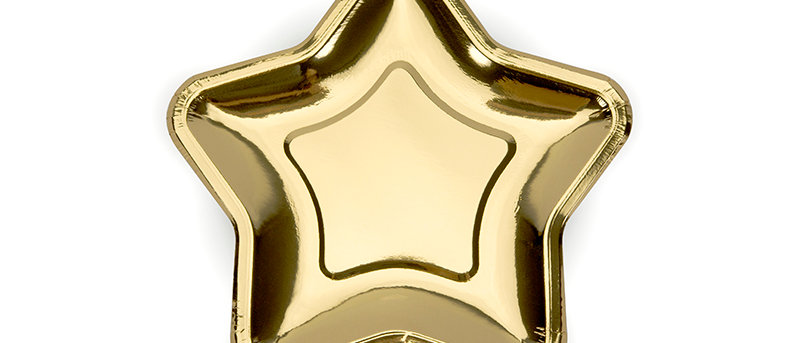 Small Gold Star Paper Plates x 6 - 18 cm