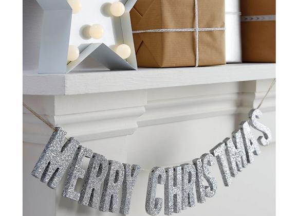 Silver Glitter Merry Christmas Garland