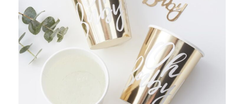 GOLD BABY SHOWER CUPS, PAPER CUPS FOR A BABY SHOWER, OH BABY BY GINGER RAY