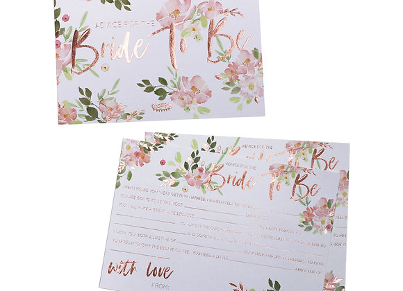 Floral Team Bride Advice Cards