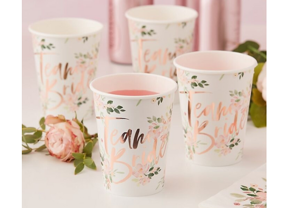 hen party paper cups, team bride cups, rose gold hen party cups