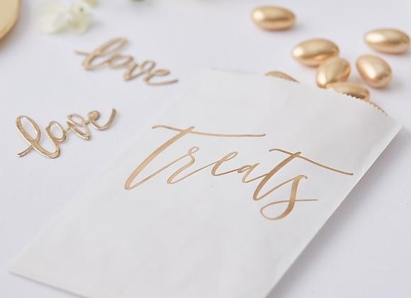Gold Text Candy Buffet Bags (x 20)