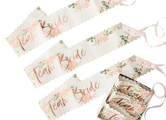 Team Bride Floral Sashes