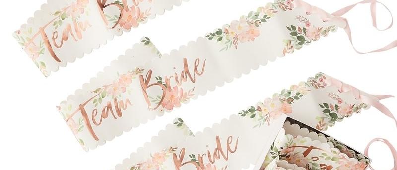 Team Bride Floral Sashes