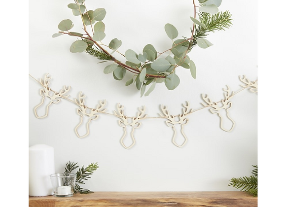 Wooden Stags Head Garland