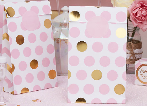 Pink And Gold Party Bags (x 5)