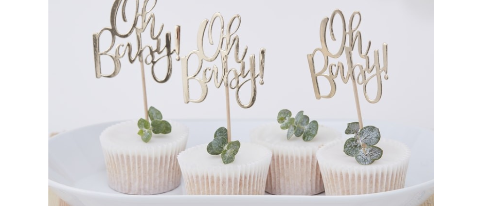 Oh Baby Gold Cake Toppers x 12