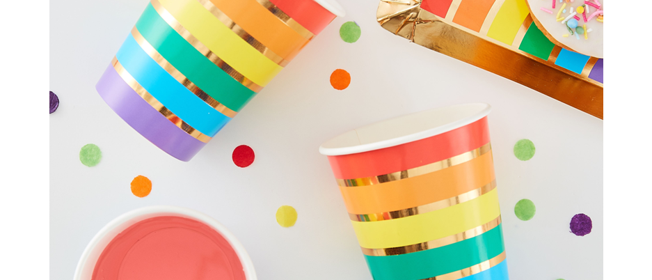 rainbow party cups, rainbow party tableware, rainbow cups, rainbow themed party tableware